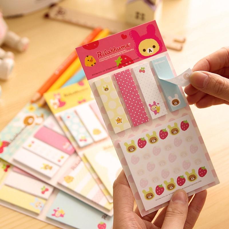 4 Pcs/lot Cartoon Rilakkuma Memo Pad Kawaii Paper Sticker Sticky Notes Kawaii Stationery Papelaira Memo Pads