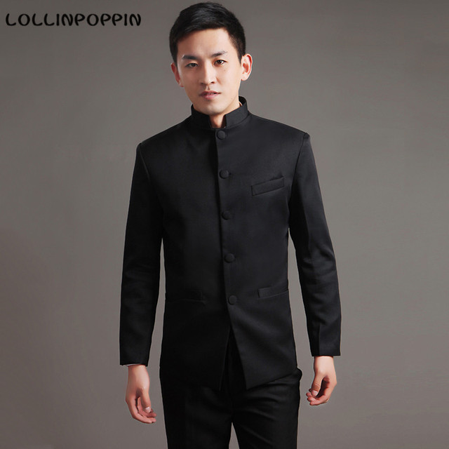 Men Chinese Traditional Tunic Suit Mandarin Collar Black / White Male Suit Pants Set (Jacket + Pants)