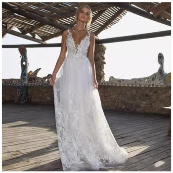 0556d857fece3 Seksi Vestido De Noiva 2019 Derin V yaka Modern düğün elbisesi Vestido De  Novia Playa Custom made Backless