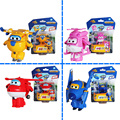 4 unids/set JET alas súper deformación Mini JET ABS Robot de juguete figuras de acción Super ala transformación juguetes para los niños de regalos