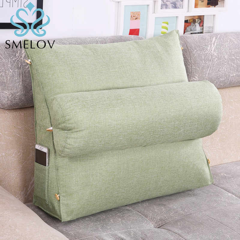 Smelov Bed Triangular Backrest Pillow Back Support Bedside Lumbar Chair Cushion Lounger Reading