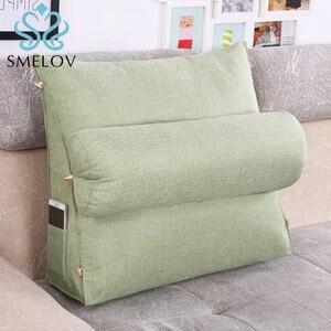 Image 4 - Smelov เตียงสามเหลี่ยมพนักพิงหมอนใหญ่กลับสนับสนุนหมอนข้างเตียง Lumbar Lumbar Cushion Lounger หมอน