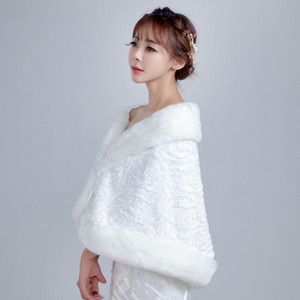 Image 3 - 2020 White Winter Bridal Jackets Women Fur Bolero Wraps Wedding Bride Accessories