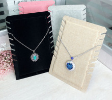 Hot selling 4 Color Velvet Linen Necklace Jewelry Pendant Bracelet Display Holder organizer Stand storage board