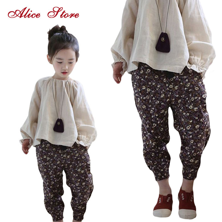 Girls Clothing Sets 2017 New Chinese Style Folk Custom Linen Lantern Sleeve Top Floral Harem Pants