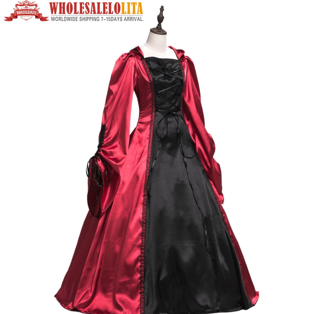 Lolita Medieval Gothic Costume Party Costume Red Vintage Plain Sateen Long Sleeve One Piece Dress