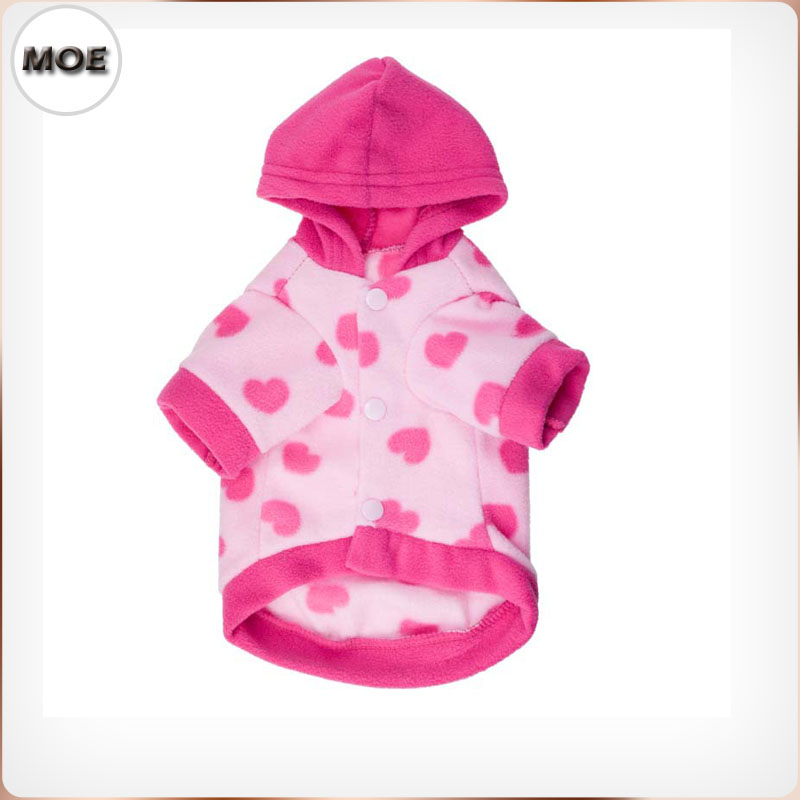 2017 Warm Fleece Hoodies Pink Cute Design Dog Clothes Jacket On Sale
