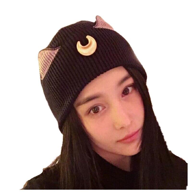 Cartoon cat crescent ear hat sailor moon women's knitted caps lovely women's knitted caps girl   Skullies   &   Beanies   free shipping