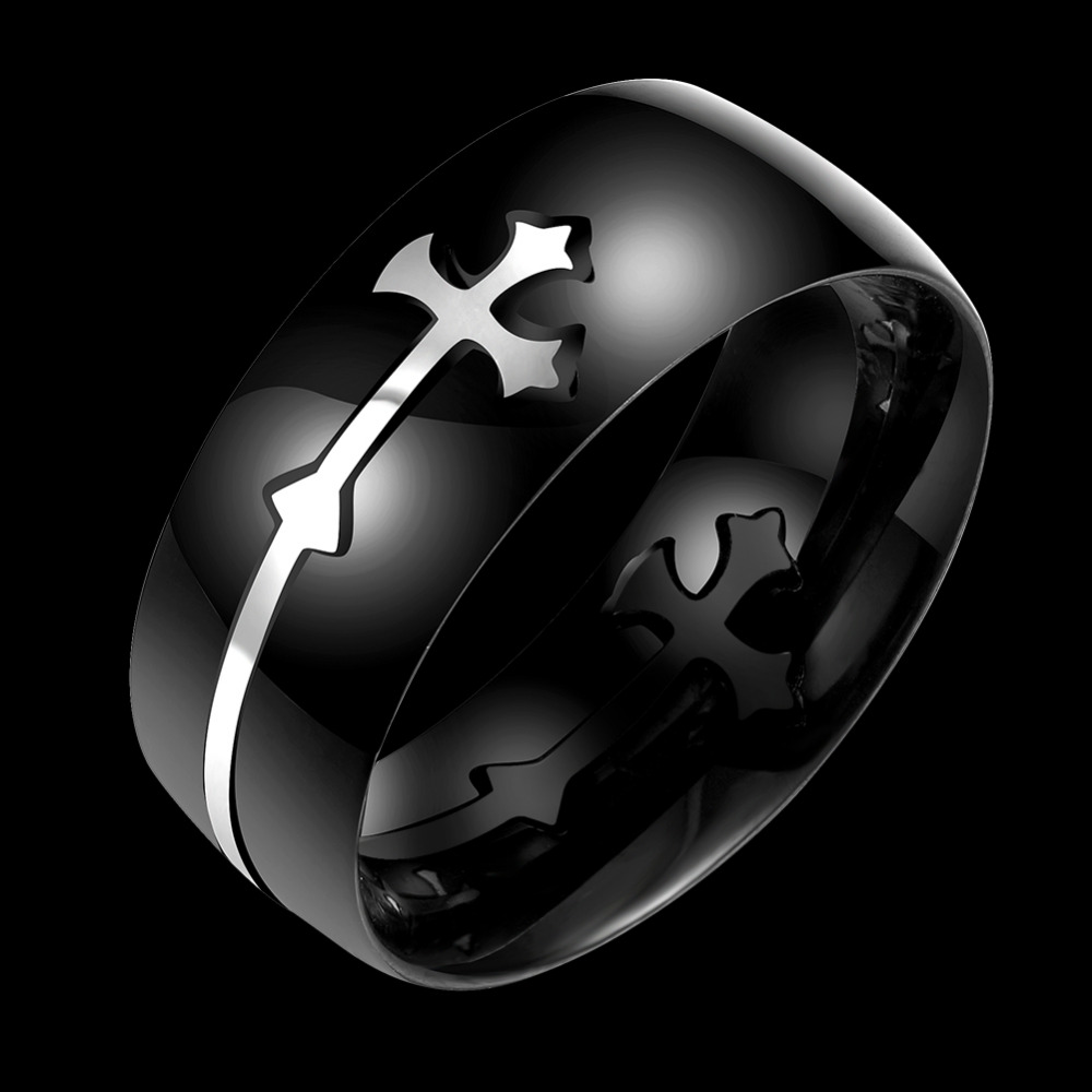 Jesus Cross Rings High Quality Charming silver Plated Women Men Party Jewelry Rings Fashion Black Color Party Christmas Gifts