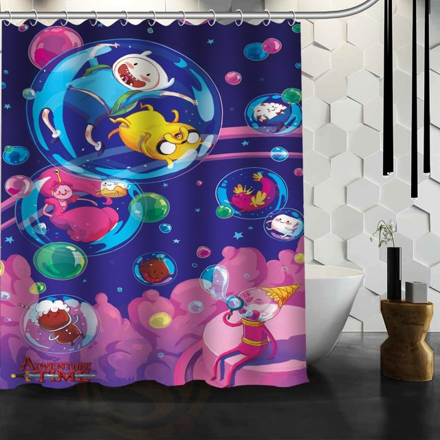 Best Nice Custom Adventure Time Shower Curtain Bath Waterproof Fabric For Bathroom MORE SIZE 165X180cm