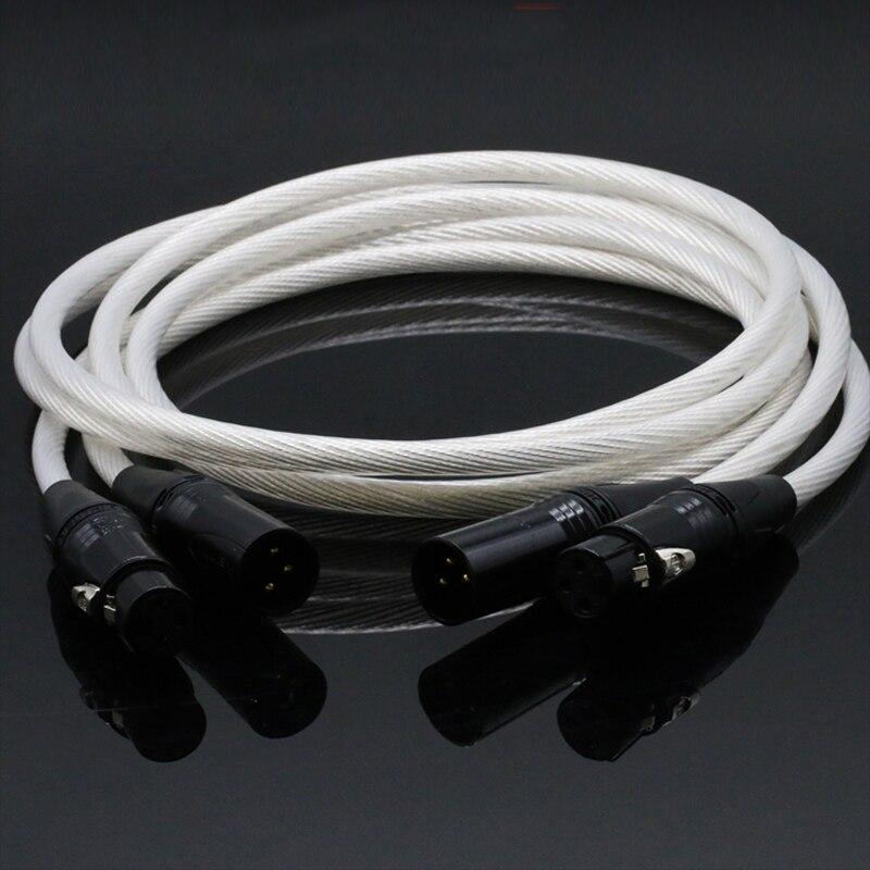 Pair Hifi neutrik XLR Cable Hi end pure silver 5NOCC cable Hifi 2 XLR Male to