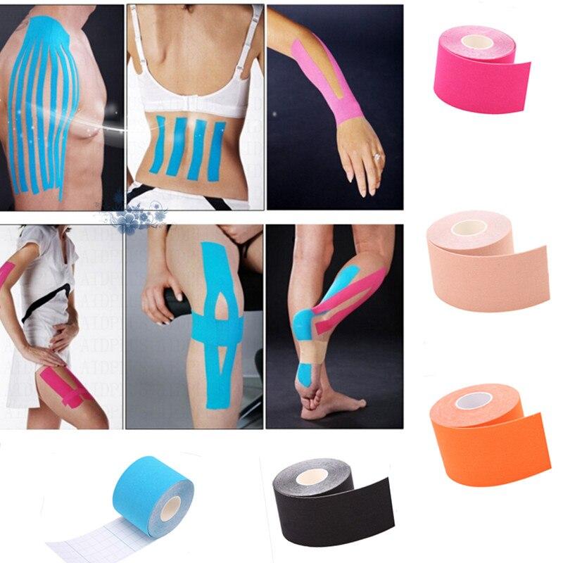 12 рулонов/комплект спортивные кинезиологии лента рулона хлопок эластичный Apertured мышечные наклейки лейкопластырь штамм травмы Поддержка