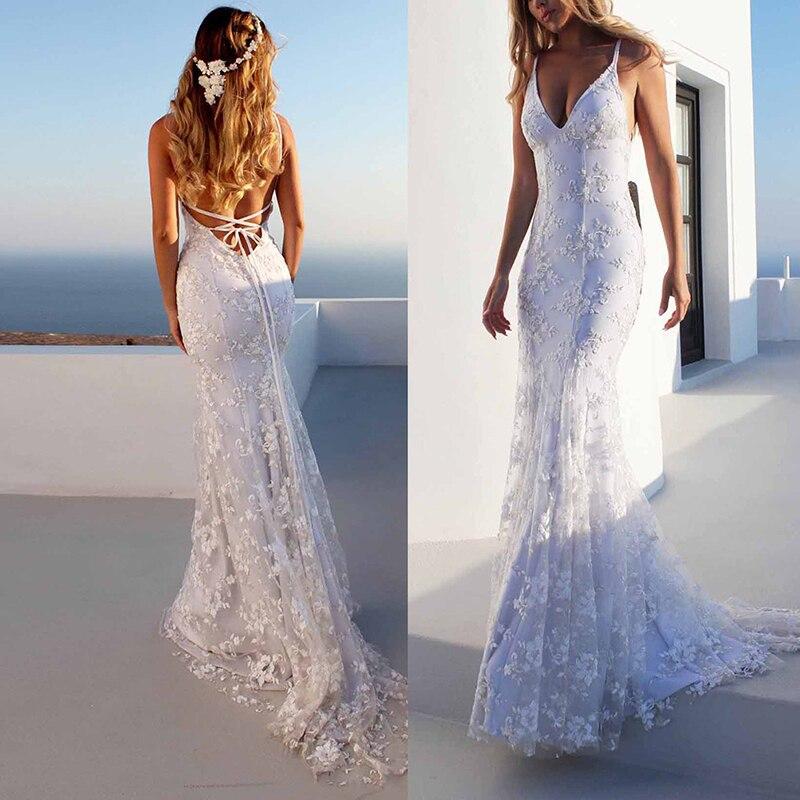 Women Deep V-neck Sleeveless Backless Bandage Lace Maxi Long Dresses Sexy White Sleeveless Long Dress Wedding Party Dresses