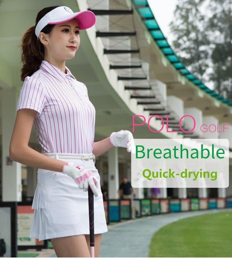 2018 vêtements de sport de golf pour femmes t-shirt à manches courtes d'été haut élastique respirant à séchage rapide rayé POLO de golf