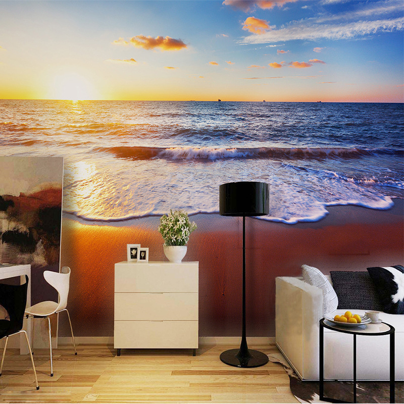 High Quality Custom Any Size 3D Wall Mural Wallpaper For Living Room Bedroom Sofa  Backdrop Photo Wallpaper Home Decor Sunset Beach Landscape