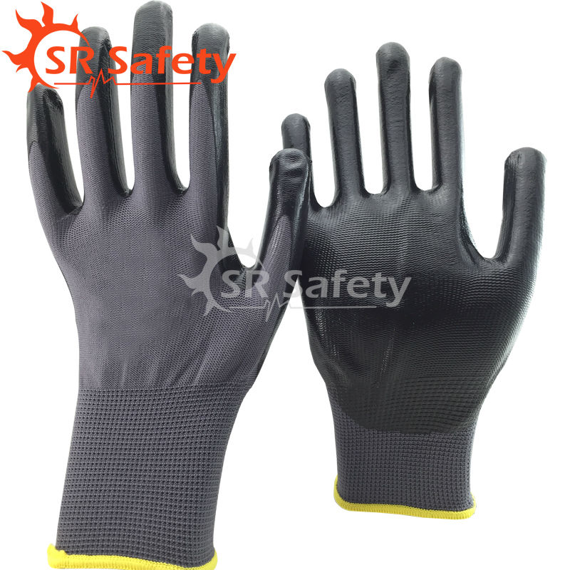 Free Shipping !!! SRSAFETY 3 Pairs Nitrile Coated Working Gloves,Grey/Black