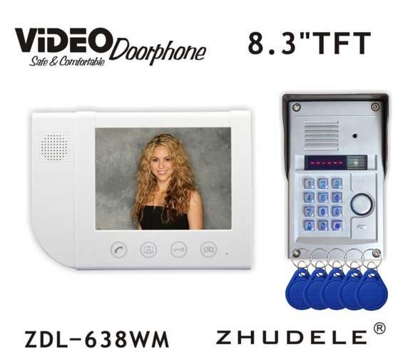 ZHUDELE Luxury 8.3 Display Wired Video Door Phone Intercom doorbell & Night Vision 700TVL HD Home Security FRID Camera