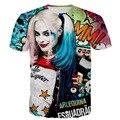 2016 Новый мужчины/женская Suicide Squad Харли Квинн Джокер аниме Майка 3D забавный графический футболки футболка