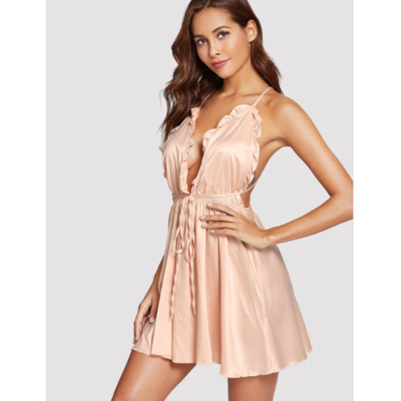 New Hot Sexy Women Lingerie Mini Dress Babydoll Ladies Underwear Sleeveless Nightwear Backless Sleepwear V Neck Nighty S-XL 2019 2
