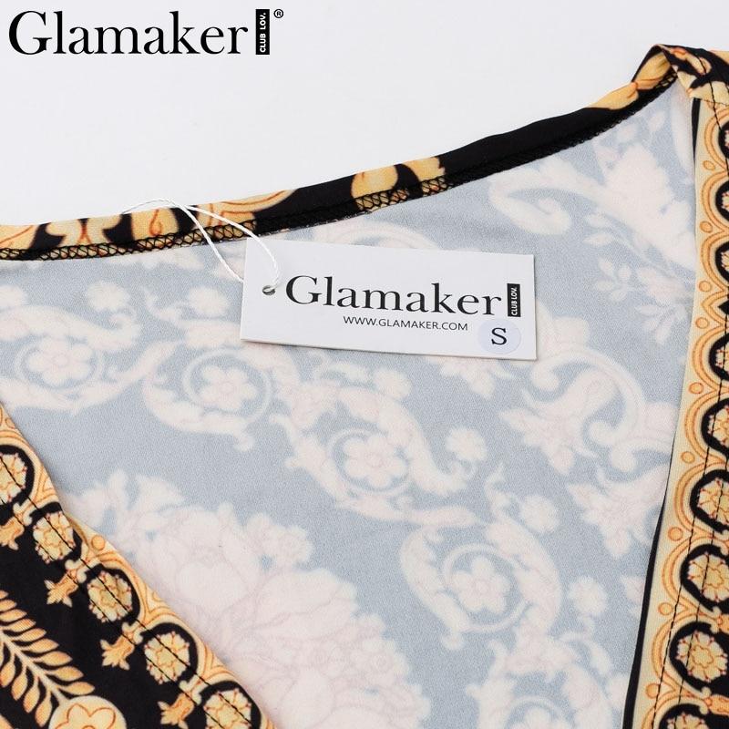 Glamaker Vintage split sexy boho dress Women autumn elegant print maxi dress long sleeve paisley 19 party club dress robe 5