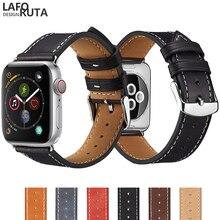 Купить с кэшбэком Laforuta Leather Bracelet 40mm 44mm for Apple Watch Band Series 4 iWatch Strap Belt 42mm 38mm Women Men Watch Band For Series 3