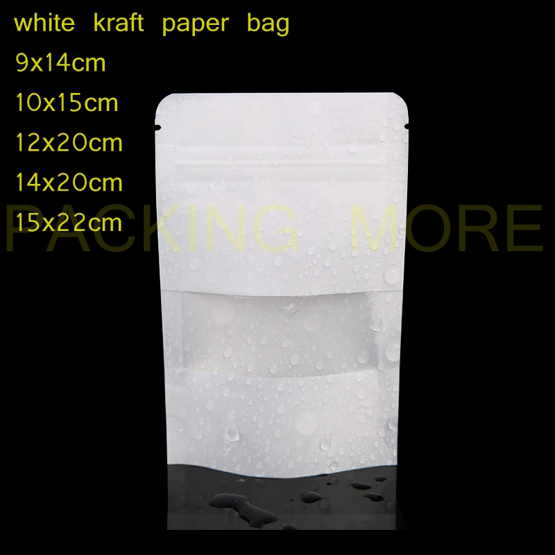 50pcs Lot Free Shipping White Kraft Paper Bags Stand Up