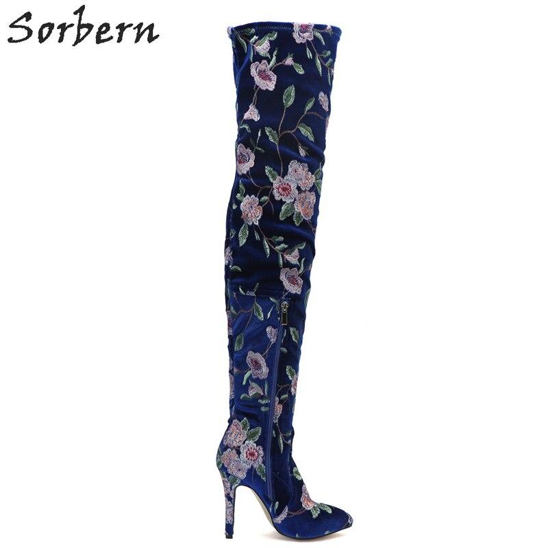Fleurs Automne Talons Bleu Royal Dame Troupeau Plus Sur Haute Bottes Taille Femmes La Sorbern Brodé Genou Le Chaussures aP5xz5