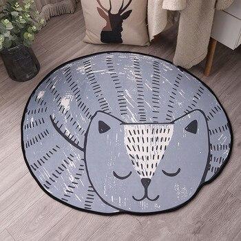 귀여운 만화 고양이 카펫 홈 컴퓨터 의자 교수형 바구니 회전 의자 침대 옆 미끄럼 방지 바닥 매트 러그 다기능 카펫