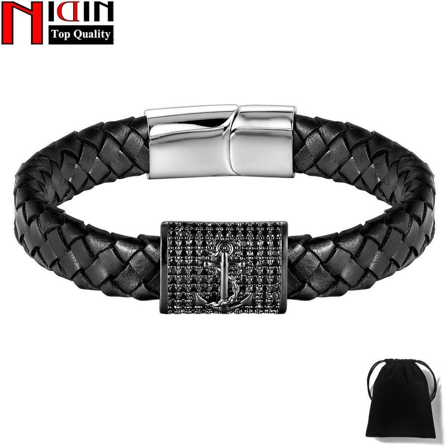 NIDIN Brand Stainless Steel Genuine Leather Anchor Bracelets & Bangles Magnet Buckle Chram Male Punk Jewelry Mens Bracelet