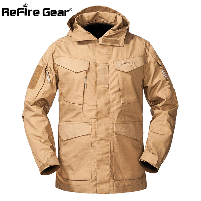 ReFire Gear M-65 Military Tactical Field Jacket Men Autumn Waterproof Windbreaker Md-long Pockets Flight Hoodie Army Coat Jacket