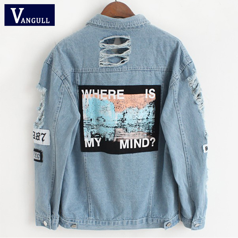 Women Frayed Denim Bomber Jacket Appliques Print Where Is My Mind Lady Vintage Elegant Outwear Autumn Fashion Coat Vangull 2018(China)