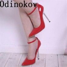 Odinokov Alta Calidad inferiores Rojos de los Altos Talones de Las Mujeres Bombas 14 Cm Zapatos de Tacón Alto de Mujer Sexy Zapatos de Fiesta de Bodas