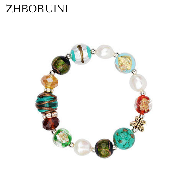 ZHBORUINI Charm Bracelet Natural Freshwater Pearl Glass Baroque Bracelet 925 Sterling Silver Pearl Jewelry Chamilia Beads Gift