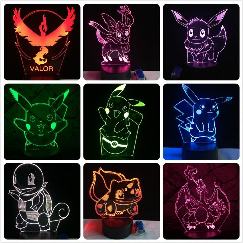 Pokemon Go Action Figure 3D RGB Lampe Pikachu Eevee Tortue Oiseau Dragon de feu Pokeball Balle Bulbizarre Bay Rôle Cadeau Night Light LED