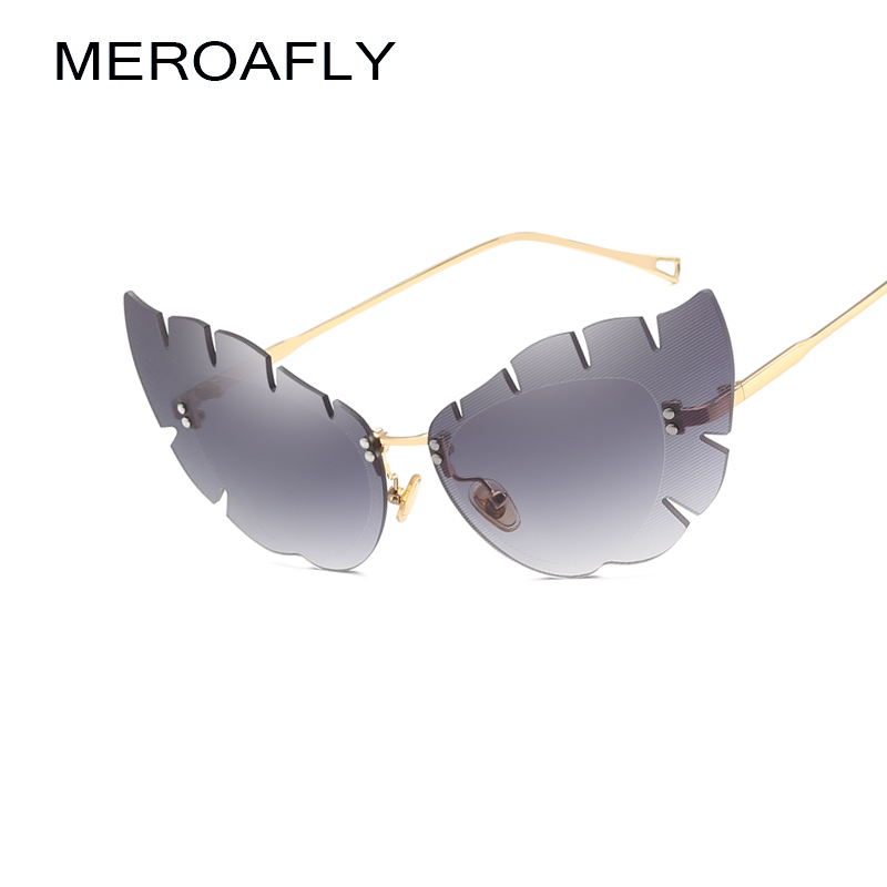 MEROAFLY Rimless Cat Eye Sunglasses Women Brand Designer Vintage Gold Brown Butterfly Sh ...