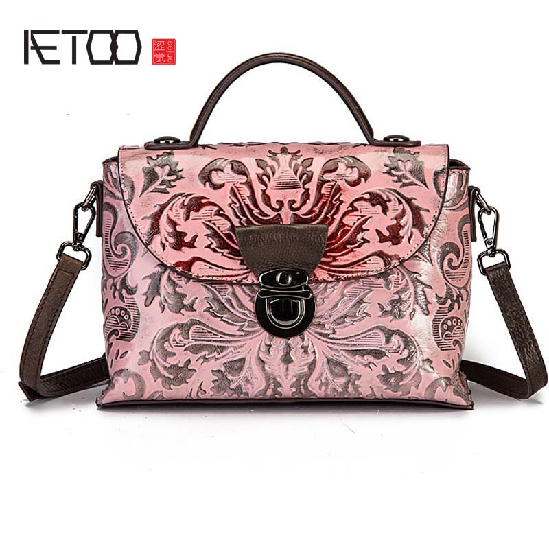 AETOO 2108 New Retro Leather Fashion Briefcase Women's Shoulder Portable Laminated Hand-colored bags 2108