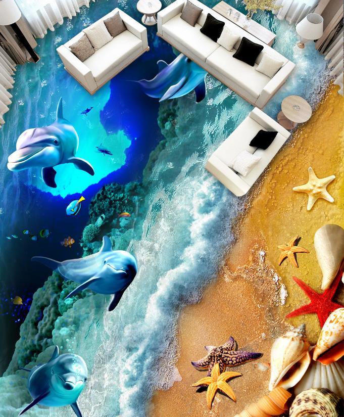 3D Floor Wallpaper Beach dolphins Wallpapers For Walls 3D Wallpaper Living Room 3D Flooring Stereoscopic Wallpaper beibehang modern luxury circle design wallpaper 3d stereoscopic mural wallpapers non woven home decor wallpapers flocking wa