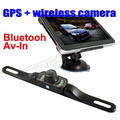 2015 new 7 inch Bluetooth,AV-IN car gps navigation with wireless rearview camera Built in 4GB