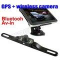 7 polegada bluetooth, Carro de navegação gps AV-IN com câmera retrovisor 4 GB
