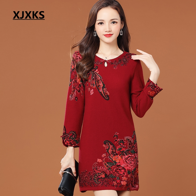 XJXKS 2018 New Female Autumn Casual Sweaters Three Quarter Sleeve Print Sueter Mujer Knitted Comfortable Women