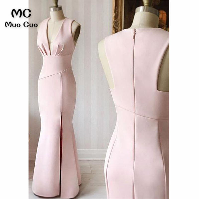 Baby Pink 2018 Mermaid Evening Prom Dresses Long Deep V Neck Vestido Longo Elastic Satin Formal Evening Party Dress Custom Made