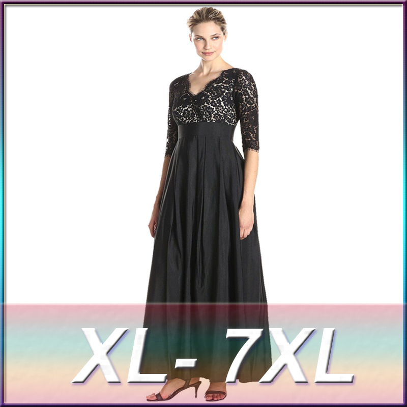 bdf1513fc6e Fashion women sexy black lace half sleeve dress noble vintage V neck formal  patchwork ball gown plus size dress 4XL 5XL 6XL 7XL-in Dresses from Women s  ...
