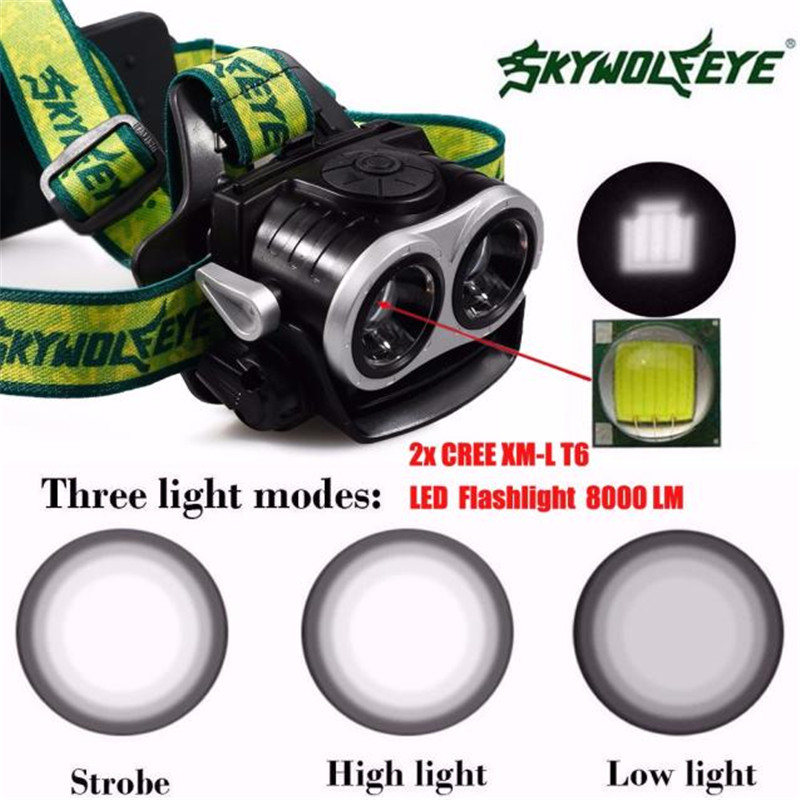 Bicycle Bike Light 8000LM 2X XM-L T6 LED Rechargeable 18650 USB Headlamp Headlight Head Light Torch  Waterproofing 950lm 3 mode white bicycle headlamp w cree xm l t6 black silver 2 x 18650