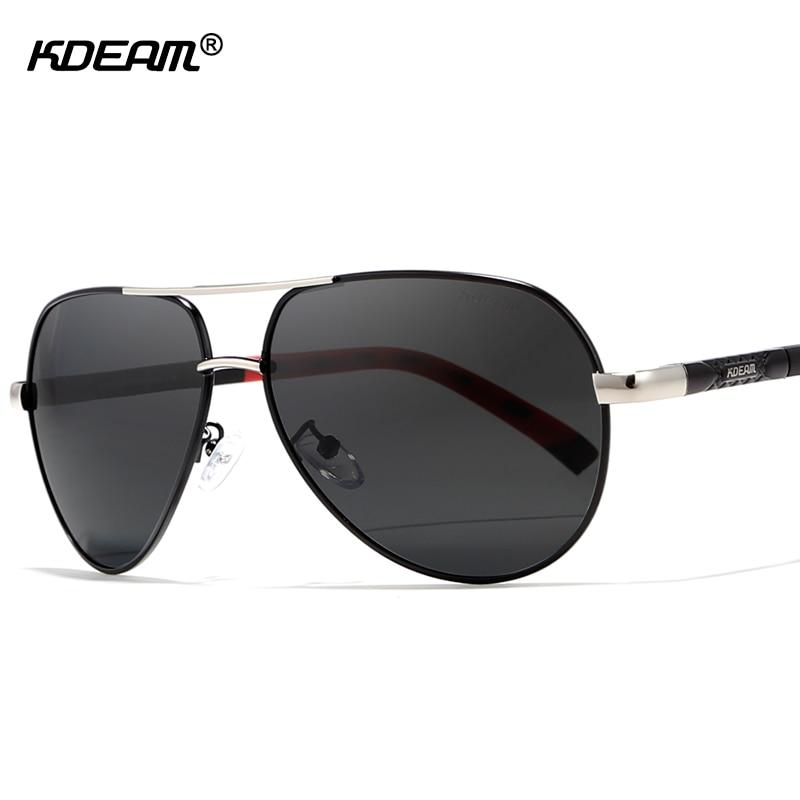 KDEAM 63mm Pilot Men Sunglasses Polarized Outdoor Sun Glasses Driving Stainless Steel Sp ...