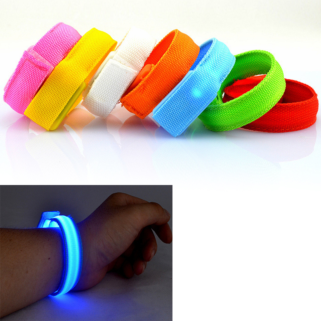 Hot Sale Led Flashing Wrist Band Bracelet Light Up Glow Outdoor In The Dark Dance Party Sports Multi Colors Fun