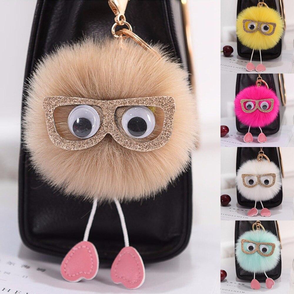 THINKTHENDO   New Soft Cute Faux Rabbit Fur Ball PomPom Glasses Car Bag Accessary 5 Color