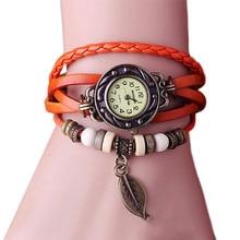 2018 Fashion Women Watches Retro Butterfly Leaf leather Bracelet Water Quartz Hand Clock Wrist Watch Female