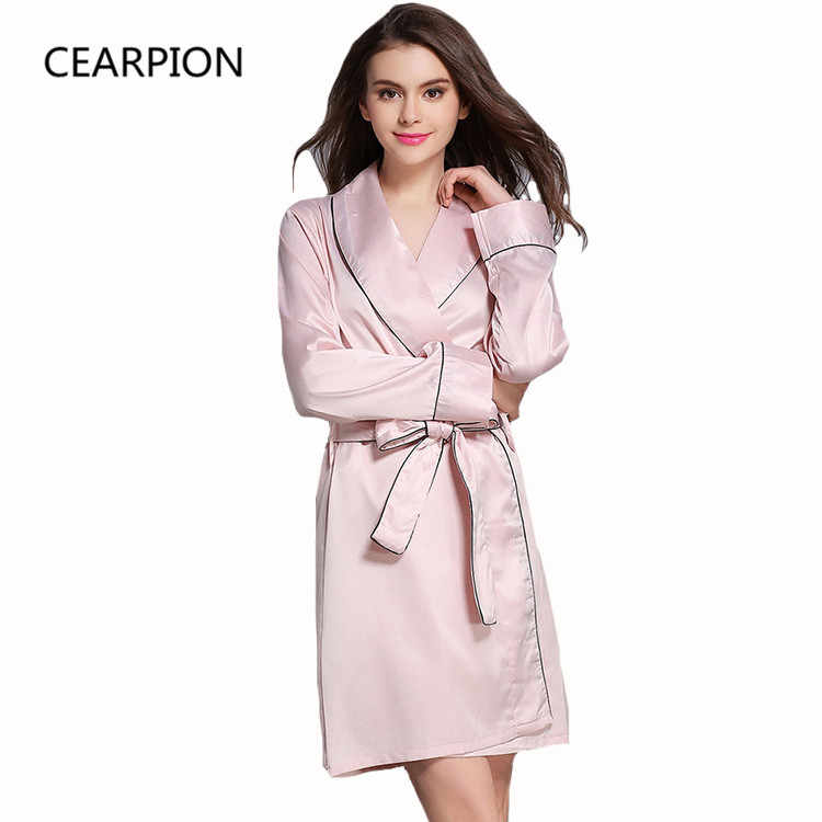 CEARPION Autumn New Robe Women Solid Kimono Bathrobe Gown Long Sleeve  Sleepwear Satin Nightwear Soft Casual 01a4a7b57
