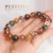 Top Quality Natural Copper Rutilated Quartz Colorful Crystal Bracelet Woman Man Round Beads Reiki Stone Fashion 10mm 11mm AAAAA
