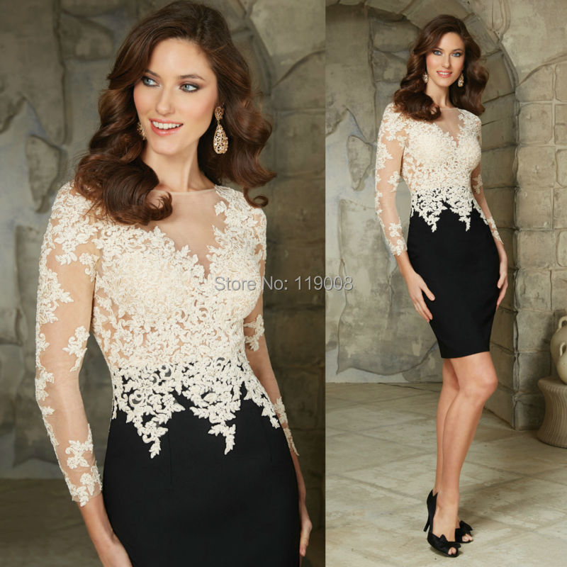926b44404cf Nuevo diseño moda 2015 vestido de noche blanco y negro Appliqued cordón de  la sirena mujeres vestidos noche largo Party Prom manga en Vestidos de  noche de ...
